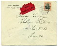 """Belgique OC19 Sur Lettre """"Express Durch Eilboten"""" De Verviers à Anvers 1917 - [OC1/25] General Gov."""