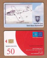AC - TURK TELECOM PHONECARDS -  T - 37B TWITTERBIRD / T - 37C - CESSNA 1981 CREDITS: 50 DATE: 2006 - Aviones