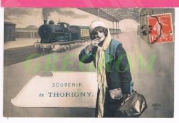 77 : Souvenir De THORIGNY , Trai , Loco - France