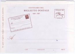 Italia 1989 Centenario Del Biglietto Postale Intero Postale - Stamped Stationery