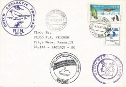 Brasil Brazil 1989 Antarctica Station Commandante Ferraz Dutch Program NApOc Barão De Teffé (H-42) Ship Cover - Cartas