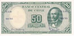 BILLETE DE CHILE DE 50 PESOS DEL AÑO 1960-61 (BANK NOTE) SIN CIRCULAR-UNCIRCULATED - Chile