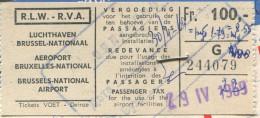 Brussels AIRPORT TAX Taxe Aéroport Fee Fiscal Revenue SWISSAIR Airline 1969 Passenger Ticket Billet D'avion WATCHES Adv. - Revenue Stamps