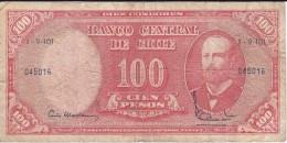BILLETE DE CHILE DE 100 PESOS DEL AÑO 1960-61 (BANK NOTE) - Chile