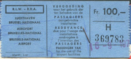 Brussels AIRPORT TAX Taxe Aéroport Fee Fiscal Revenue SWISSAIR Airline 1970 Passenger Ticket Billet D'avion WATCHES Adv. - Revenue Stamps
