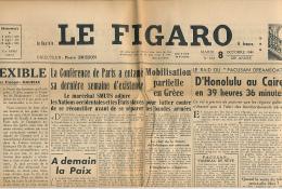 LE FIGARO, Mardi 8 Octobre 1946, N° 670, Conférence Paris, Grèce, Béziers, Jean Moulin, Téléphone, Pacusan Dreamboat... - Informations Générales