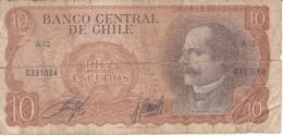 BILLETE DE CHILE DE 10 PESOS DE BALMACEDA (BANK NOTE) (ROTURA) - Chile