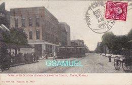 Amérique - Franklin Street From Corner Of Lafayette Street, Tampa, Fla - Tramway - Marcophilie, Philatélie  (voir Scan). - Tampa