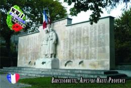 Carte Postale, Militaria,  World War I Memorial Monuments, France (Alpes De Haute Provence), Barcelonnette - Monuments Aux Morts