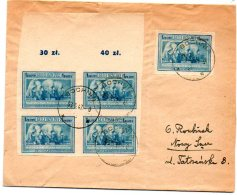 Kult106  Série Culture 1947  1 Zl Peinture  Bloc De 4 Bord De Feuille Non  Dentelé  Sur Lettre - 1944-.... Republik