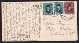Egypt: PPC Picture Postcard To Germany, 1934, 3 Stamps, Card: Port Said Farouk Street Savoy Hotel, Kodak (creases) - Egypte