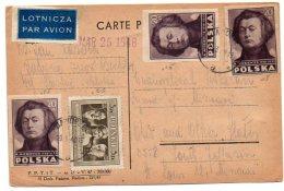 Kult101  Série Culture 1947 Mickiewicz Et Theatre Sur Carte Postale - 1944-.... Republik