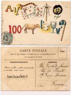 Cartes A Jouer - Rébus - A V. Queue -  Sept Cartes- Mat - Pensée - 100 - Veau - L' - Oeufs-verre-V'- Houe   (90086) - Playing Cards