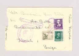 Spanien  3.8.1939 Zensur Trabajadores #66 Mando Brief Nach Zürich - 1931-Aujourd'hui: II. République - ....Juan Carlos I