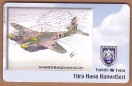 AC - TURK TELECOM PHONECARDS -  DE - HAVILLAND DH - 38 MOSGLITO MK - III ( IV 1947 - 54  122 - Airplanes