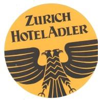 ,ETIQUETA DE HOTEL  -  ZURICH HOTEL ADLER - Etiquettes D'hotels