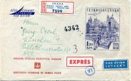 12503 Ceskoslovensko, Aerogramme Air Letter Circuled Registered 1,20kcs, 1968 To Germany, Showing Prague - Postal Stationery