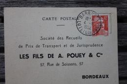 Carte Postale Affranchie Type Gandon Oblitération Barbaste Lot Et Garonne - Postmark Collection (Covers)