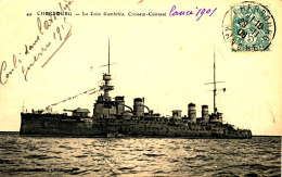 AC 49  /     C P A   -  CHERBOURG -LE LEON GAMBETTA CROISEUR CUIRASSE - Guerra