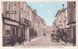 CPA Animée (52) BOURBONNE Les BAINS Le Grande Rue Devanture Imprimerie - Bourbonne Les Bains