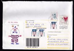 Germany: Cover, 2000, 6 Stamps, Souvenir Sheet, Clown, Flood Aid (traces Of Use) - Brieven En Documenten