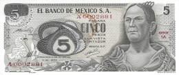 MEXICO 5 PESOS 1969 P-62a UNC SERIE 1A LOW SERIAL A0002881 [ MX062a ] - México