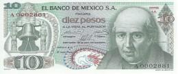 MEXICO 10 PESOS 1969 P-63a UNC SERIE 1 LOW SERIAL A0002881 [ MX063a ] - Mexico