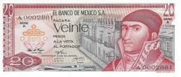 MEXICO 20 PESOS 1972 P-64a UNC SERIE A LOW SERIAL A0002881 [ MX064a ] - Mexico