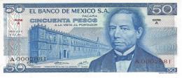 MEXICO 50 PESOS 1973 P-65a UNC SERIE A LOW SERIAL A0002881 [ MX065aLS ] - Mexico