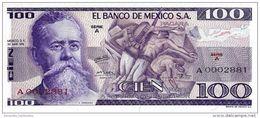 MEXICO 100 PESOS 1974 P-66a UNC SERIE A LOW SERIAL A0002881 [ MX066aLS ] - Mexico