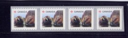 CANADA, 2014 #2710A, BABY WILDLIFE  COIL. BEAVER.  From Rolls  Mnh Strip Of 4 - Roulettes