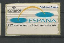 ESPAÑA ATM ETIQUETA BLANCA BLANK LABEL EXPO HANNOVER 2000 - 2000 – Hanover (Germany)