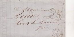 319  -  LETTRE  - LAC -  1.5.51  -  FLERS DE L'ORNE  -  LONS LE SAUNIER - 1849-1876: Periodo Clásico