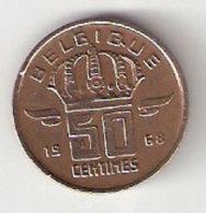 Pièce Belgique. 50 Cts. 1968 - 03. 50 Centimes