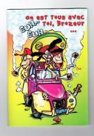 Double Carte Fantaisie Voiture 2 CV CITROEN Hippie Cigarette Drogue Pipe Calumet Champignon Couteau Pneu Crevé Totem - A Systèmes