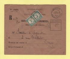 Monnaie  - Indre Et Loire - 1935 - Lettre Taxee - Service Des Recouvrements - Destination Tours - Postmark Collection (Covers)
