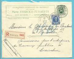 257+283 Op Brief Aangetekend Met Stempel SAVENTHEM - 1922-1927 Houyoux