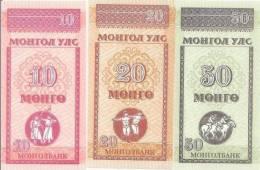 MONGOLIA Set Of 10, 20,  50 Mongo **UNC** - Mongolia