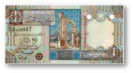 LIBYA - 1/4 Dinar - ( 2002 ) - P 62 - Unc. - Sign. 4 - Serie 5 - 2 Scans - Libya