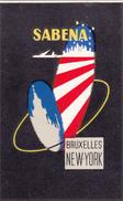 SABENA   -   BRUXELLES-NEW-YORK - Etiquettes à Bagages -  Vintage 1950's  - SABENA AIRLINES Luggage Label - Étiquettes à Bagages