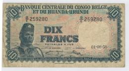 Belgian Congo, 10 Fr. 1958, F. Free Ship. To USA. - [ 5] Belgian Congo