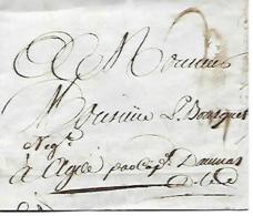 Marseille 3 Juillet 1786 - Lettre D´envoi Par Barque CANAL DU MIDI - Contreseing Du Capitaine DAUMAS - Historische Documenten