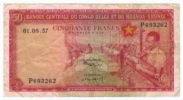 Belgian Congo, 50 Fr. 1957, VF. Rare. Free Ship. To USA. - [ 5] Belgian Congo