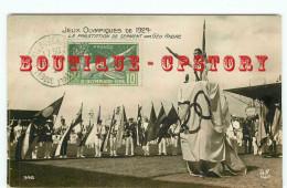 OF< CARTE PHOTO Des JEUX OLYMPIQUES De 1924 à COLOMBES - PRESTATION De SERMENT Par GEO FOURRIER - Olympische Spelen