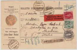 1905, Paketkarte Nach Italien , 3 Farben , #6026 - 1882-1906 Wappen, Stehende Helvetia & UPU