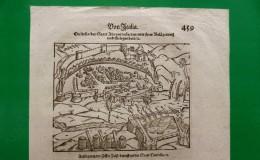 ST-IT Assedio A Civitella Del Tronto Xilografia 1600~ Sebastian Münster Cosmographia Universalis - Estampes & Gravures