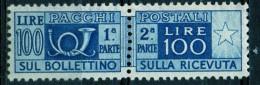 PIA - ITA - Specializzazione : 1952 : Pacchi Postali £ 100 - (SAS 77/III  - CAR 32 ) - 6. 1946-.. República