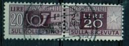 PIA - ITA - Specializzazione : 1952 : Pacchi Postali £ 20 - (SAS 74/III  - CAR 29 ) - 6. 1946-.. República