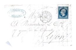 Griffe Ambulant Paris Pcf 1°.sur Empire Français 20c Bleu Non Dentelé.cad: Paris A Clermont 1° J 28 Janv 59.fragment - Postmark Collection (Covers)