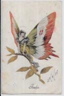 CPA Papillon Art Nouveau Femme Girl écrite Butterfly Patriotique Italie ITALY - Künstlerkarten